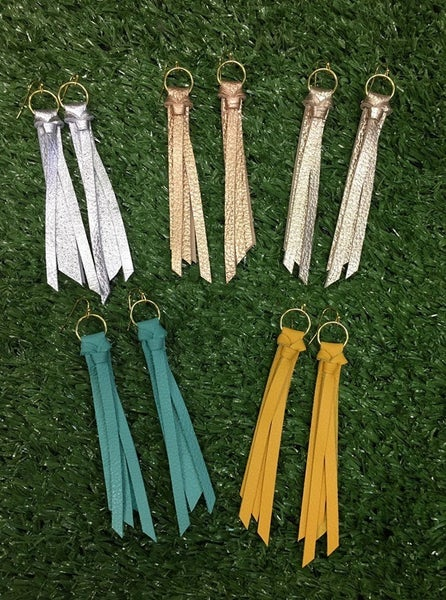 Short Tassel Leather Earrings