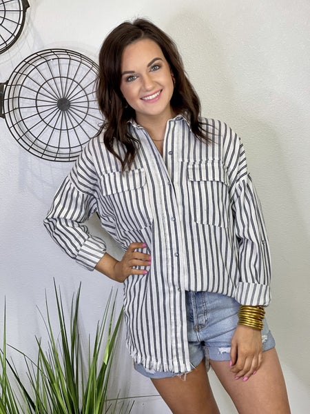 The Striped Button Down Top - All Sizes