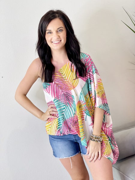 The Bright Palm One Shoulder Top
