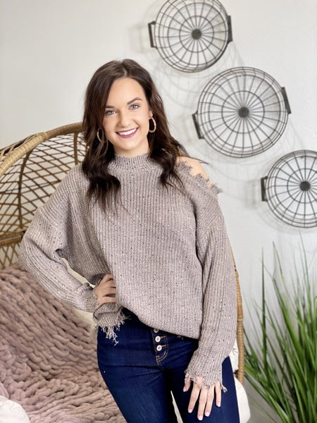 The Frayed Cold Shoulder Sweater