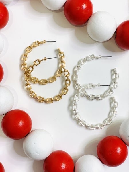 PF Steal #5 - Chunky Chain Hoops - 2 Colors
