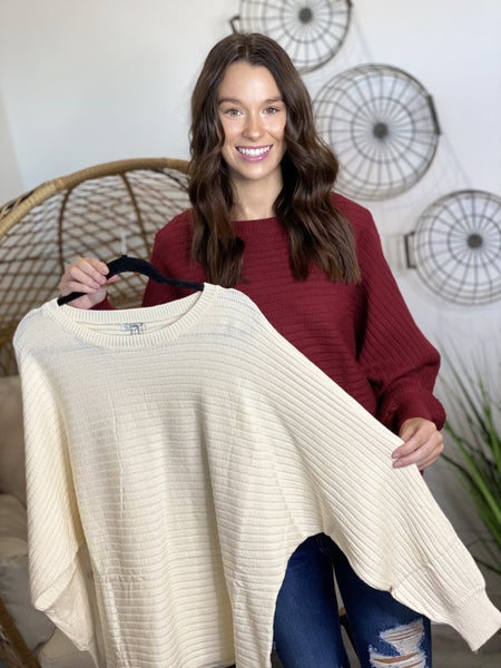 The Ribbed Dolman Sweater - 2 Colors