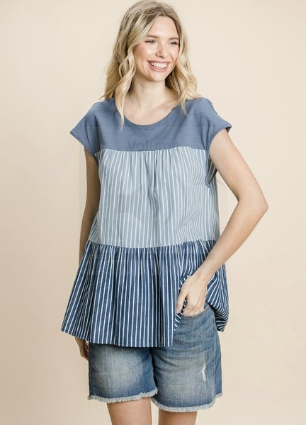 The Tiered Stripe Top - All Sizes