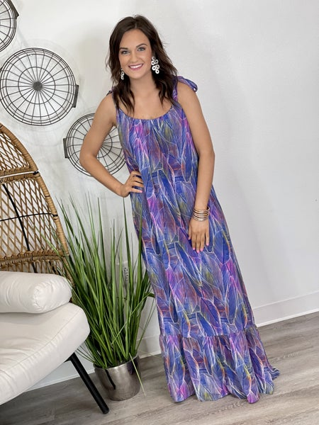The Adrienne Maxi-Blue Feather