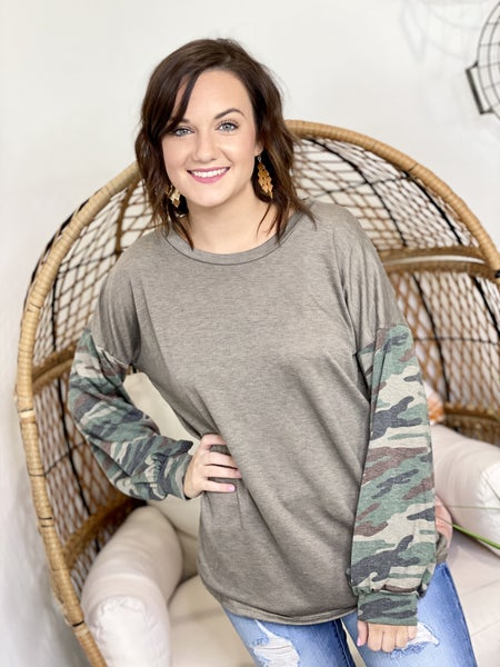 Camo Sleeves Top - All Sizes