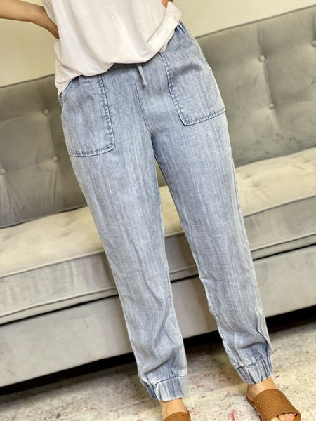 The Chambray Light Wash Joggers