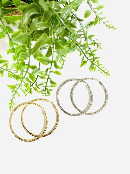 The Blinged Out Circle Hoops-2 Colors