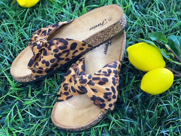 The Leopard Bow Slides