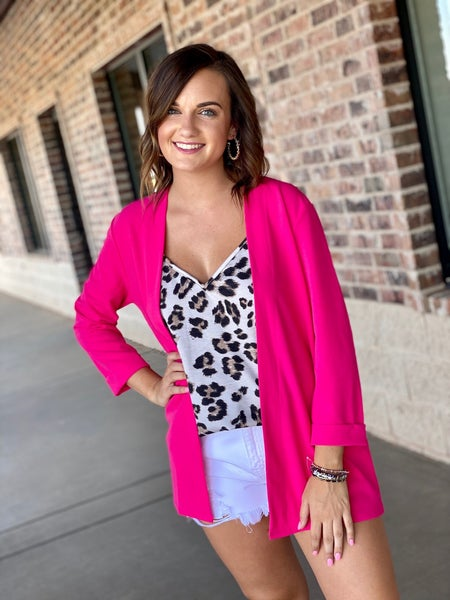 The Lincoln Blazer in Hot Pink