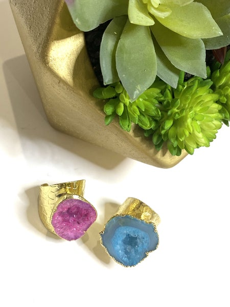 Natural Rock Rings Gold-2 Colors