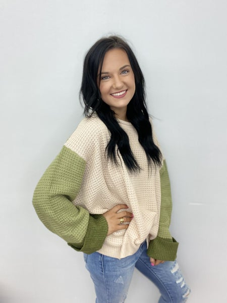 The Olive Combo Sweater