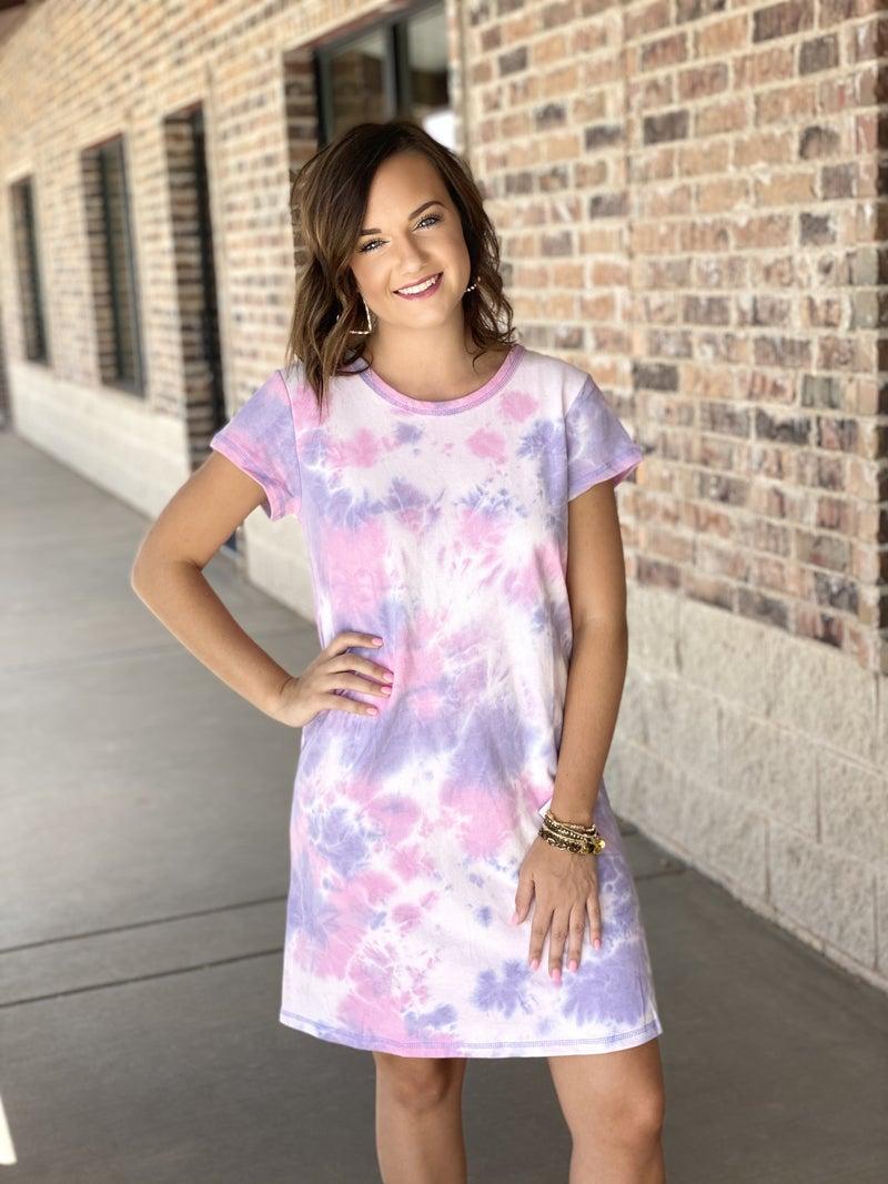 The Tie Dye Tshirt Dress in Pink