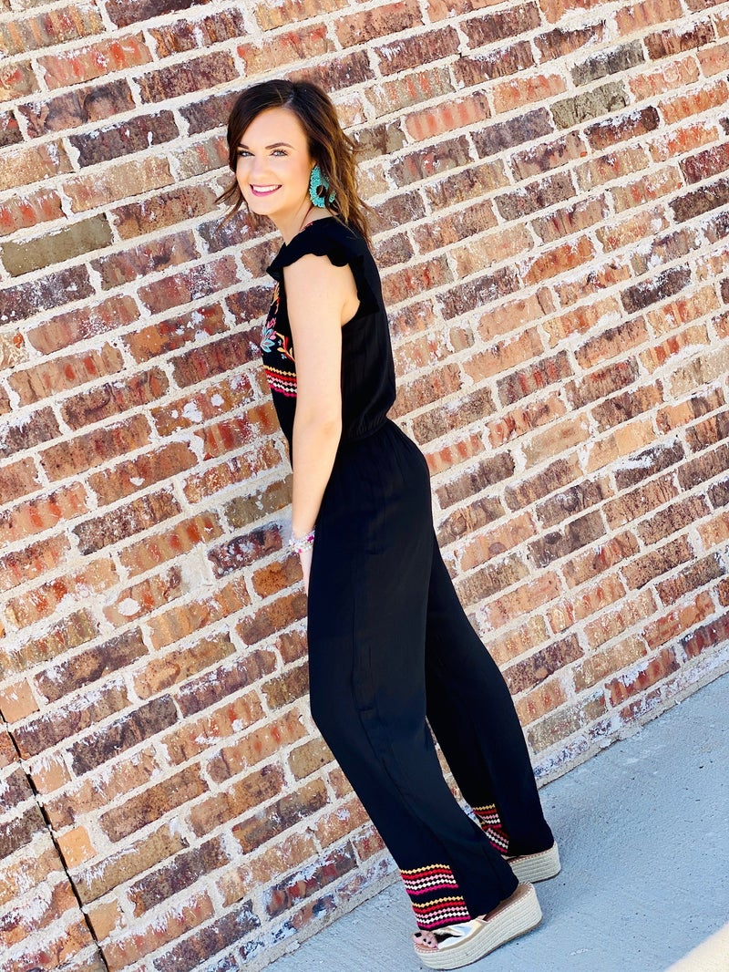 The Black Embroidered Romper