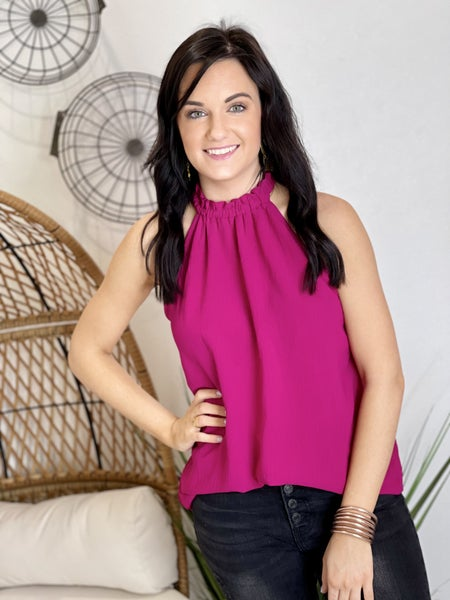 The Show me Sass Top in Fuchsia