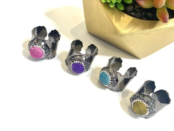 Plated Gunmetal Bling Rings