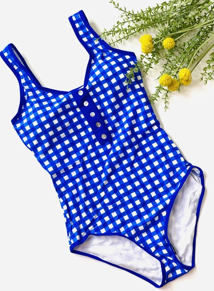 The Blue Babe Check Swimsuit