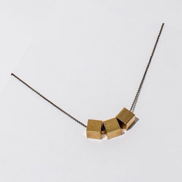Brass Cubist Necklace