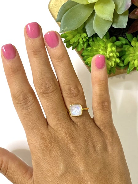 The Moonstone Gold Gem Ring