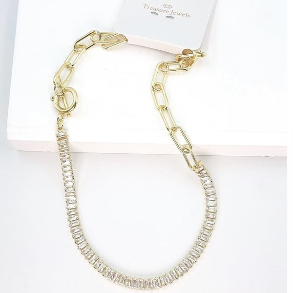 TJ Gold Crystal Chain Necklace