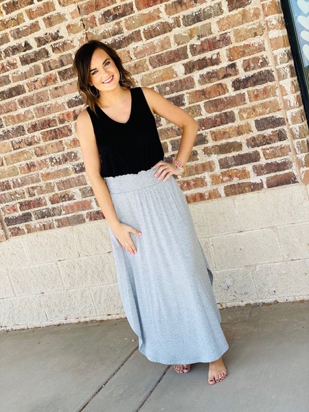 The Sabrina Maxi Skirt in Grey