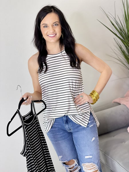 The Ribsy Striped Tank in 2 Colors - All Sizes