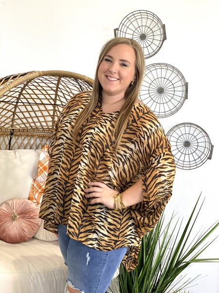 The Sassy Tiger Poncho Top