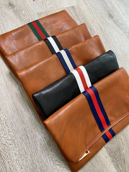 Preppy Stripe Foldover Clutch- Lots of Options