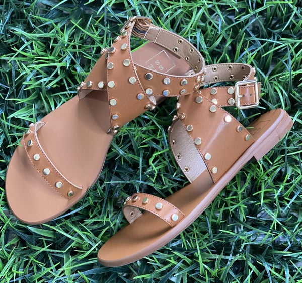 The Studded Wrap Sandal in Tan