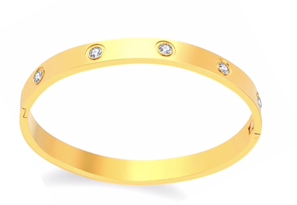 Gold Solitaire Bangle - 2 Sizes