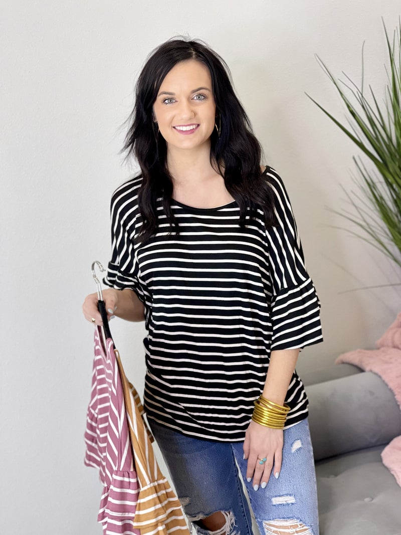 Ruffles on Stripes Top-3 Colors