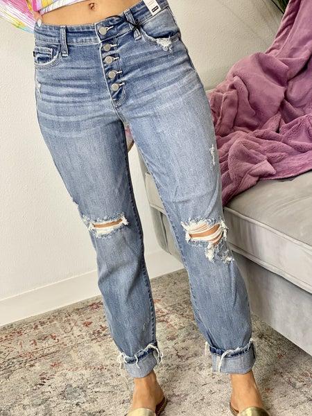 The JB High Waist Buttonfly Boyfriend Jeans