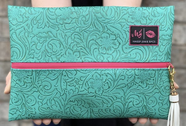 The Turquoise Dream (Hot Pink Zipper) MJ Bag - 3 Sizes