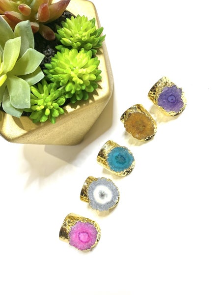 Golden Druzy Color Rings-Lots