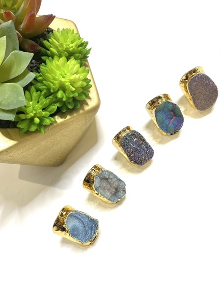 Shimmer Druzy Gold Rings-5 Styles