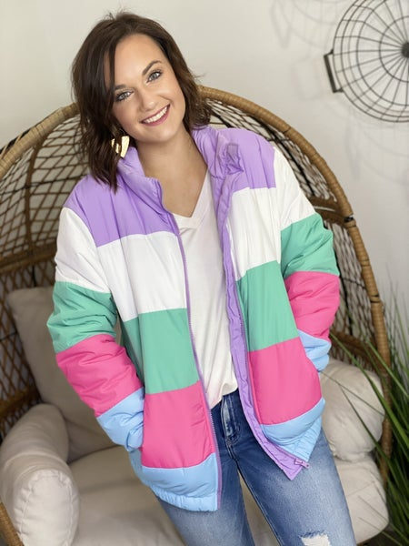 The Lisa Puffer Jacket in Pastel