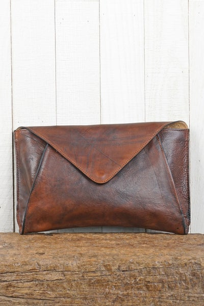 Love Stitch Leather Clutch-Black or Brown