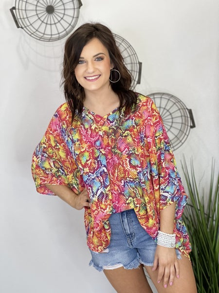 The Rainbow Snake Poncho Top