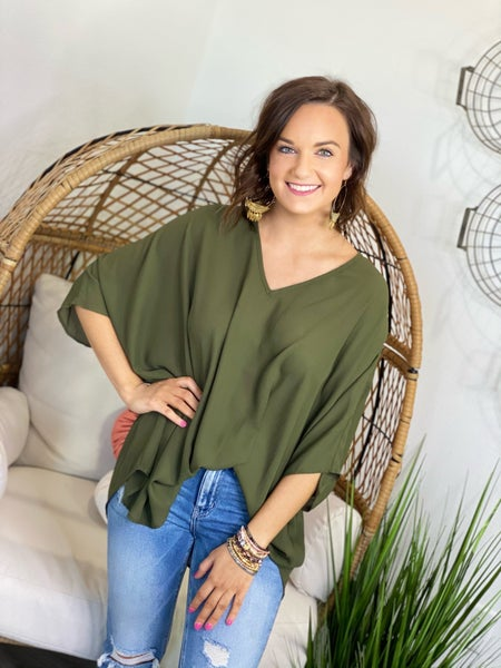 The Olive Poncho Top