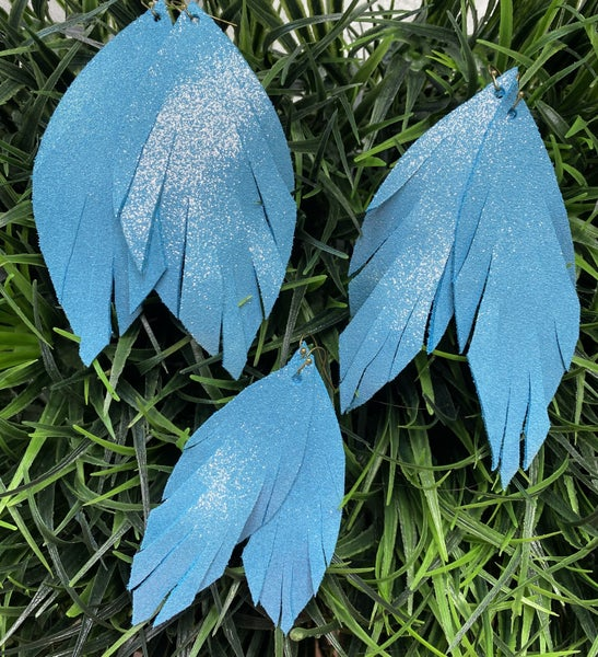 The Blinging Blue Leather Earrings