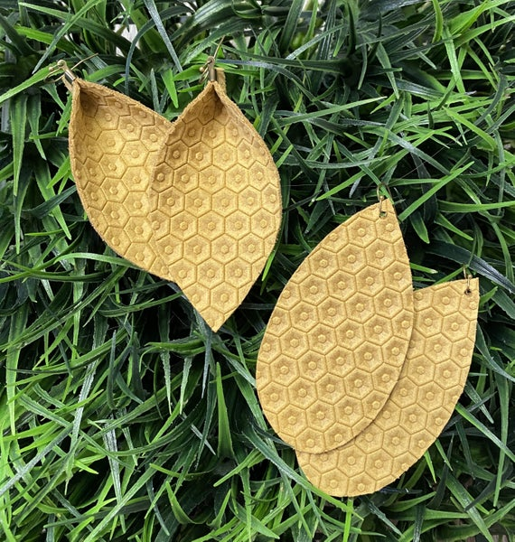 The Honeycomb Leather Earrings