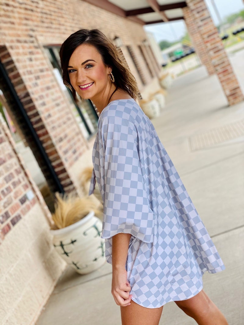 Checkered Kimono Cover Up