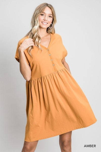 The Button Babydoll Dress in 2 Colors - All Sizes