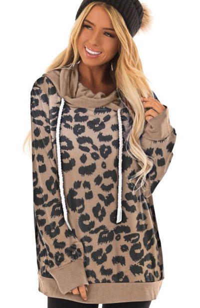 Leopard Print Drawstring Casual Hoodie