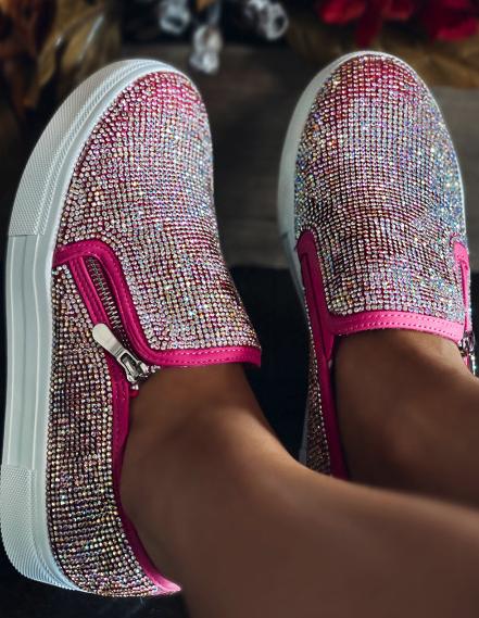 Rose Rhinestone Sneakers