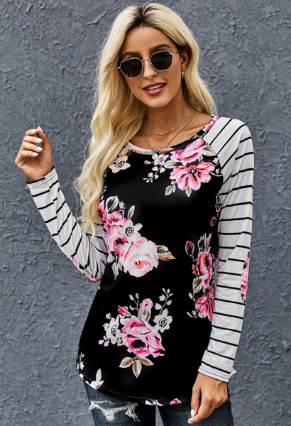 Sequin Pocket Floral Panel Striped Sleeve Top