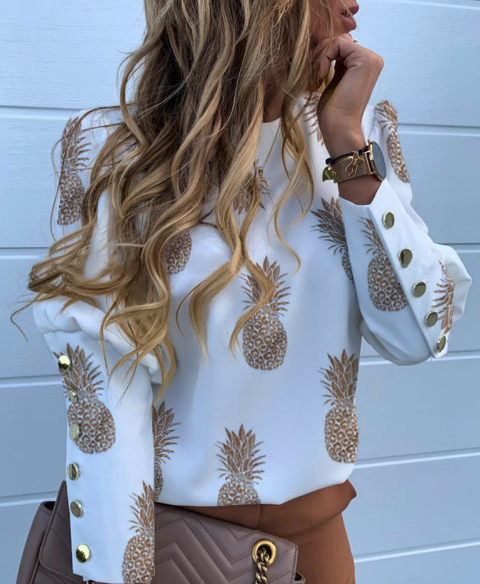 Pineapple Print Buttoned Detail Blouse