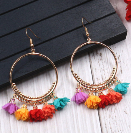 Multi - Color Tassel Earrings