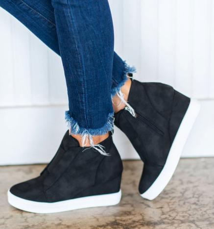 Black Zip Closure Wedge Sneakers