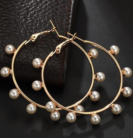 Sweet Faux Pearl Hoop Earrings