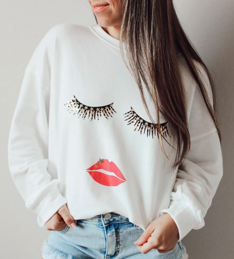 Eyelash and Lips Long Sleeve T-shirt